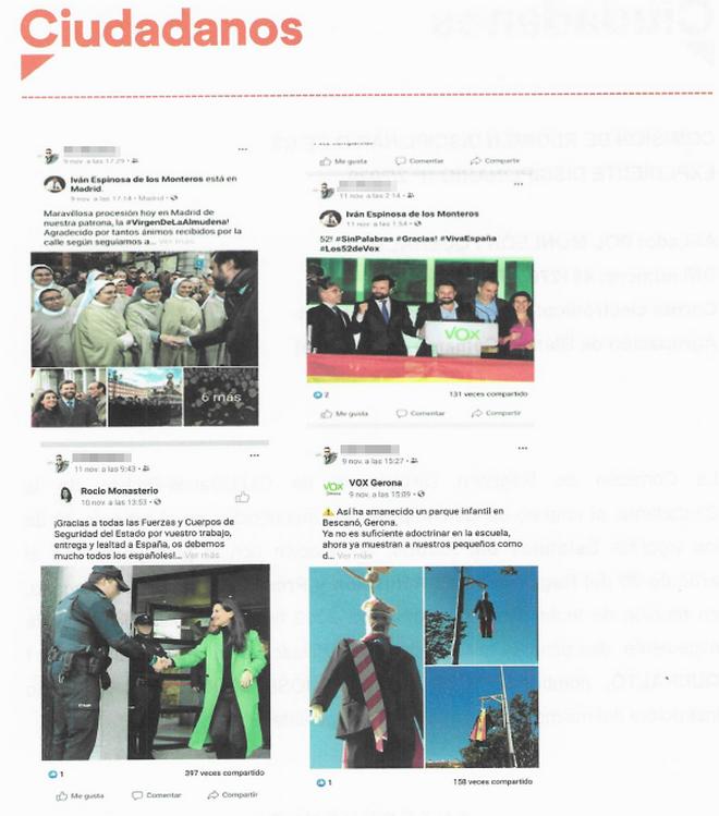 Reenvío de tuits sobre Vox que Cs reprocha al afiliado en su expediente sancionador.