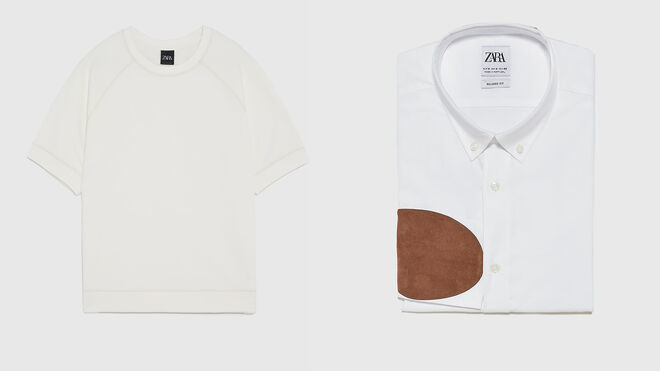 Sudadera de manga corta. PVP: 8€ // Camisa blanca con coderas. PVP: 10€