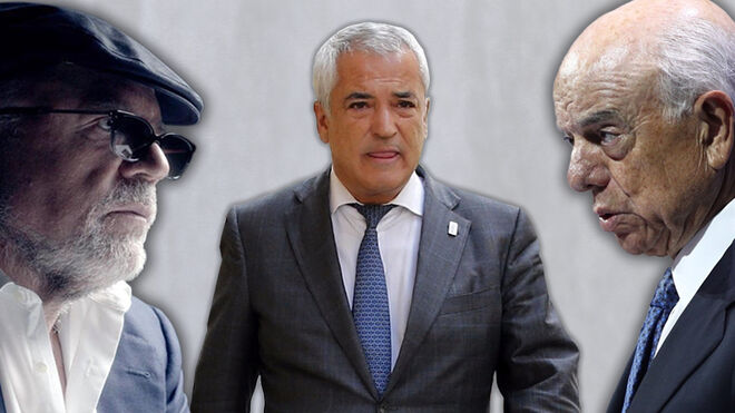 El comisario José Manuel Villarejo, el presidente de Ausbanc Luis Pineda y el expresidente del BBVA Francisco González.