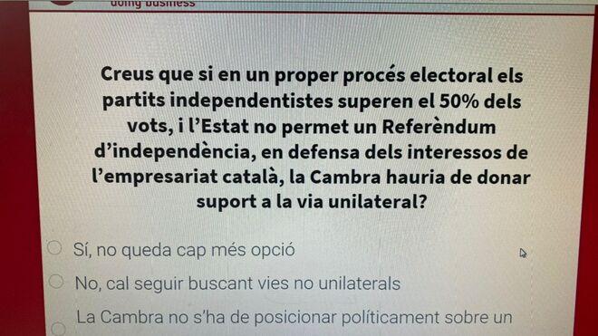 Vista de una de las preguntas del cuestionario de la Cámara de Comercio.