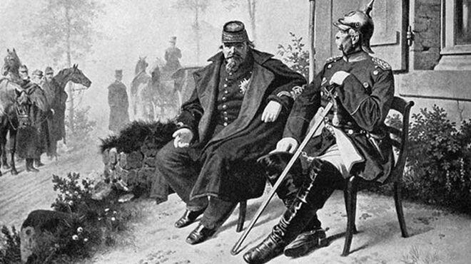 El emperador Napoleón III se rinde al canciller prusiano, Bismark