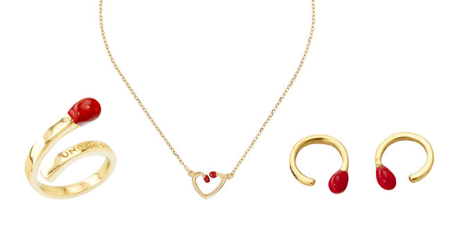 Anillo (PVP: 69€), collar (PVP: 99€) y pendientes (PVP: 79€) con formas de cerillas
