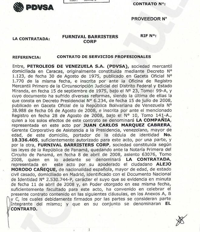Juan Carlos Márquez firmó a nombre de PDVSA el contrato con Alejo Morodo