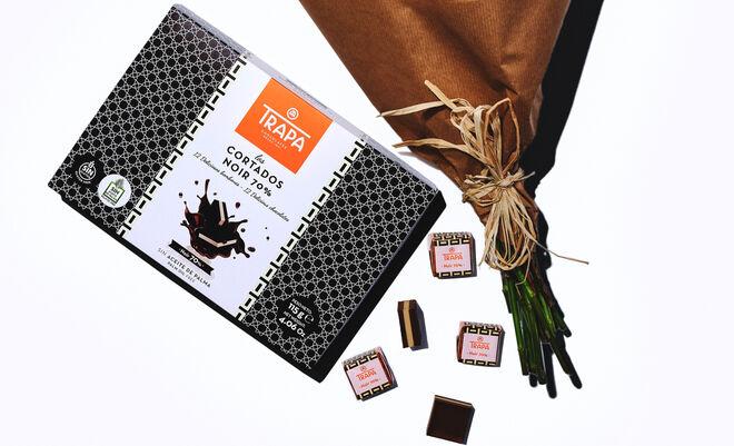 Cortados de chocolate negro 70% de Trapa.