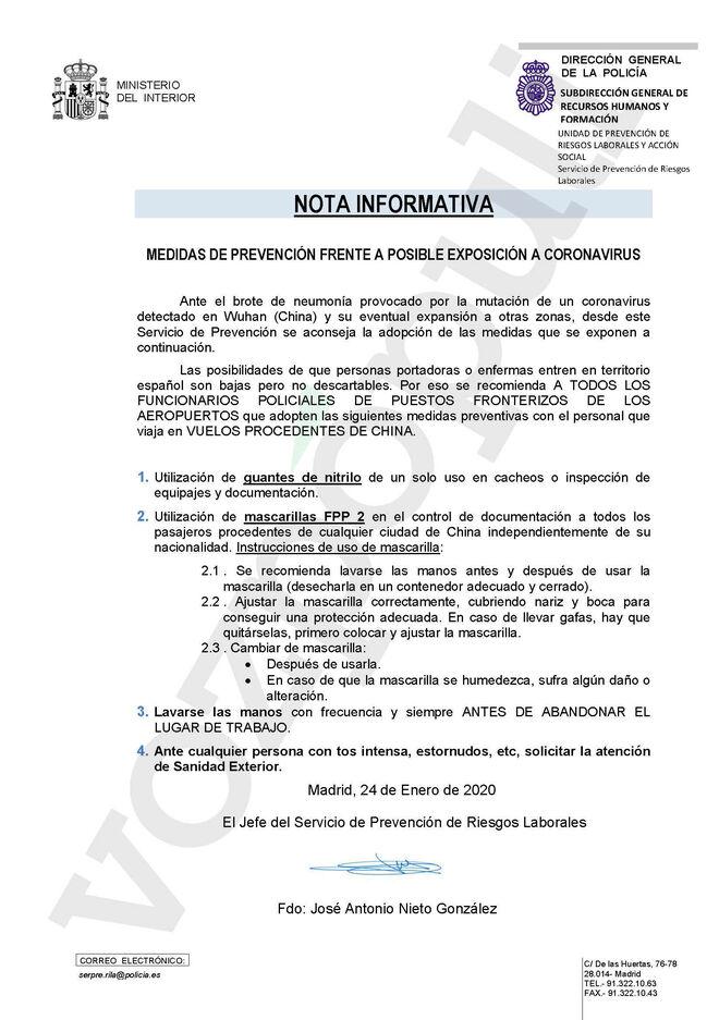Documento con recomendaciones de la Policía