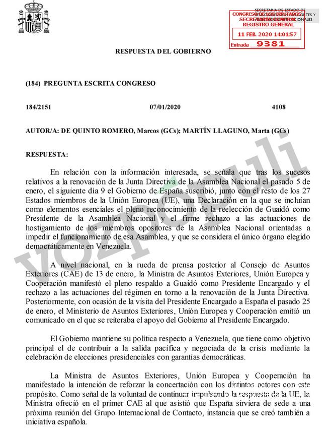 Escrito de respuesta del Gobierno a las preguntas de Ciudadanos sobre Venezuela