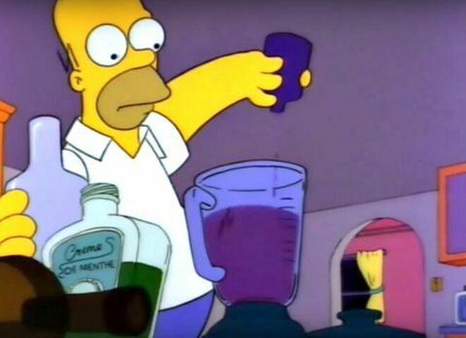 El Flambeado de Moe,  de Los Simpson. mezcla alcohol con jarabe de la tos.
