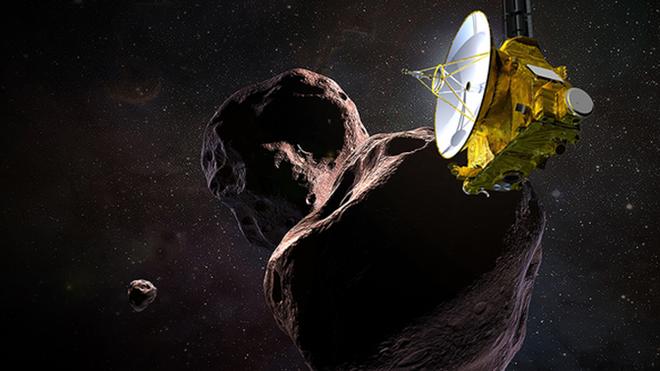 Ilustración de la nave New Horizons sobrevolando Ultima Thule el Día de Año Nuevo