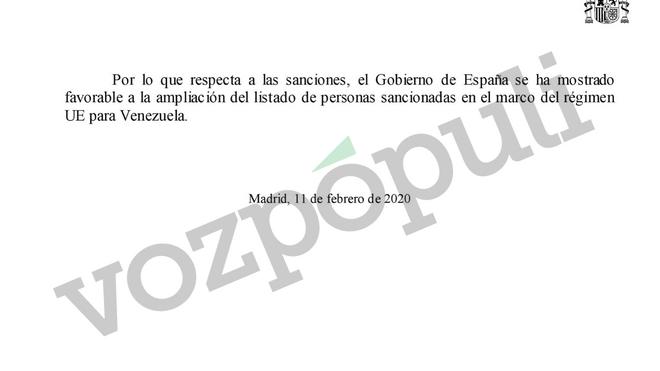 Respuesta del Gobierno a las preguntas presentadas por Ciudadanos sobre Venezuela en el Congreso