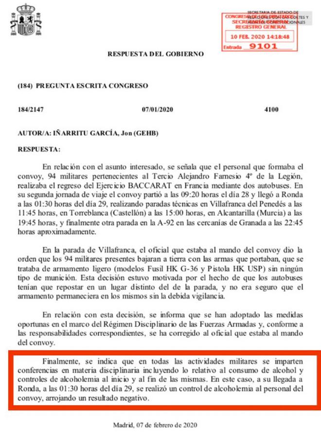 Respuesta del Gobierno sobre este asunto. El subrayado en rojo es del diputado Inarritu (Bildu).