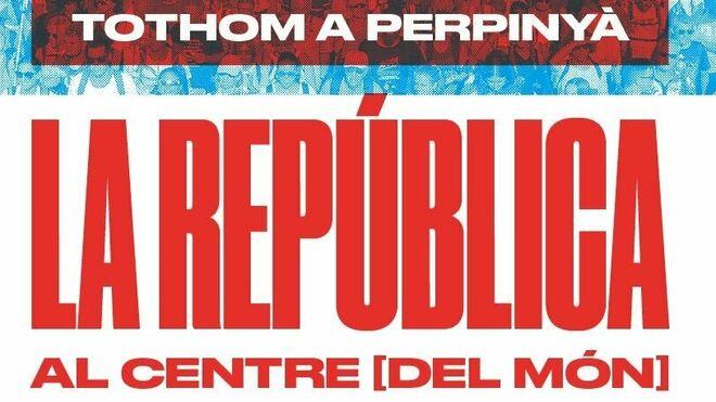 Vista del cartel del acto independentista en Perpignan