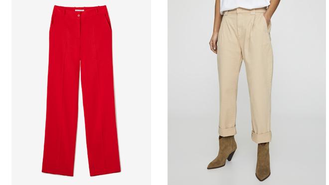ADOLFO DOMINGUEZ Pantalón recto rojo. PVP: 128€ // PULL & BEAR Pantalón claro con dobladillo. PVP: 19.99€