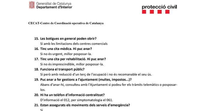 Cuestionario de la Generalitat sobre el coronavirus II