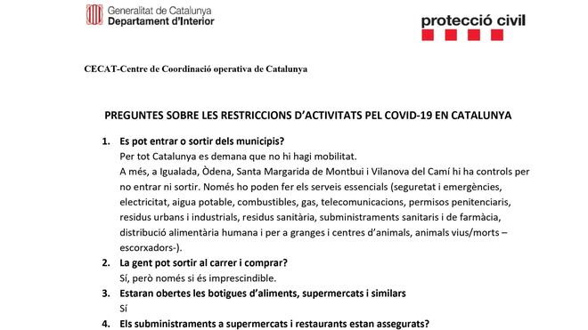 Cuestionario de la Generalitat sobre el coronavirus I