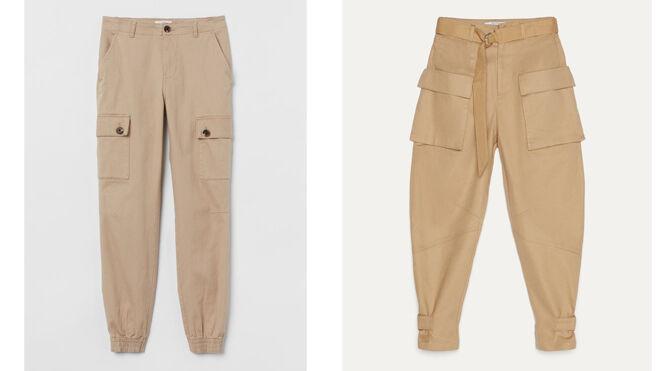 H&M Pantalón cargo bolsillos laterales. PVP: 25.99€ // BERSHKA Pantalón con bolsillos en cadera. PVP: 25.99€