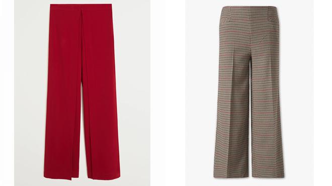 MANGO Pantalón rojo. PVP: 49.99€ // C&A Pantalón Palazzo estampado. PVP: 24.95€