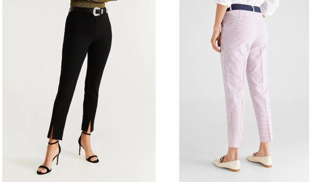 MANGO Pantalón negro con abertura en el bajo. PVP: 25.99€ // CORTEFIEL Pantalón blanco con rayas. PVP: 49.99€