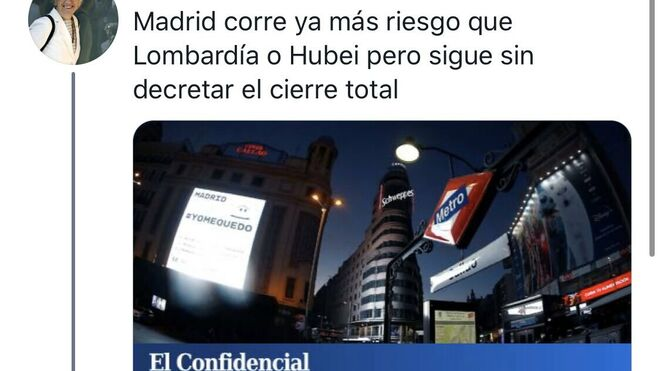 Tuit de la eurodiputada Clara Ponsatí mofándose de los fallecidos madrileños.