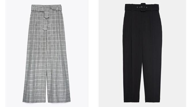 UTERQUE Pantalón Príncipe de Gales. PVP: 99€ // ZARA Pantalón negro con cinturón. PVP: 25.99€