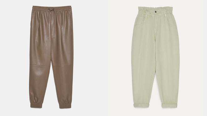 ZARA Pantalón efecto piel. PVP: 25.95€ // BERSHKA Pantalón slouchy pastel. PVP: 19.99€