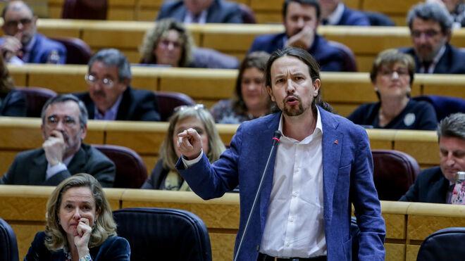 El vicepresidente del Gobierno, Pablo Iglesias, en el Senado.