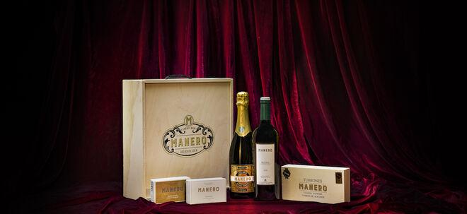 Caja de vino, cava, latas y turrón de Manero.
