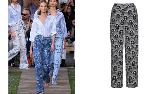 ETRO Pantalón estampado paisley. PVP: 380€ // ANONYME DESIGNERS Pantalón negro estampado. PVP: 85€