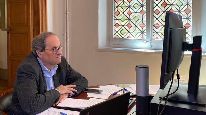 El presidente de la Generalitat, Quim Torra, durante el Consejo Ejcutivo extraordinario.