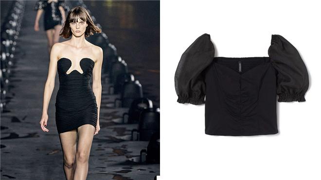 Saint Laurent Vestido negro. PVP: 3.990€ // H&M Top negro con manga abullonada. PVP: 19.99€