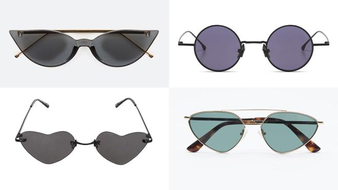 UTERQÜE Gafas forma de gato. PVP: 55.30€ // KOMONO Gafas redondas. PVP: 99€ // BERSHKA Gafas forma corazón. PVP: 12.99€ // ZARA Gafas cristal azul. PVP: 25.95€