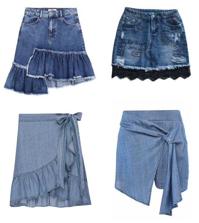 BERSHKA Falda con volantes. PVP: 29.99€ // COCOLEBREL Falda con encaje negro. PVP: 79€ // RAILS Falda cruzada. PVP: 125€ // SALSA Falda-pantalón. PVP: 59.95€