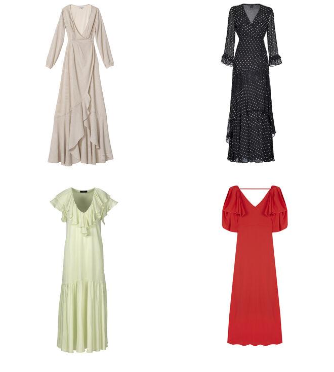 BRUNA Vestido crudo. PVP: 165€ // PINKO Vestido negro. PVP: 365€ // C&A Vestido con escote de volantes. PVP: 49.90€ // WOMAN EL CORTE INGLÉS Vestido rojo. PVP: 299€