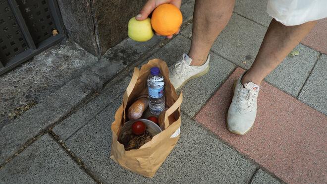 Bolsa con los alimentos