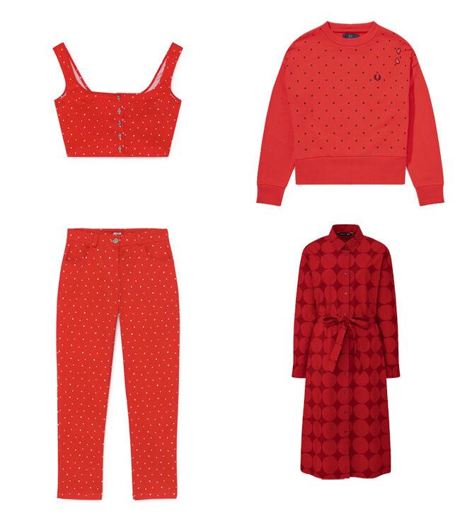 C´EST LA V Top rojo. PVP: 35€ y pantalón de lunares. PVP: 130€ // FRED PERRY Sudadera roja. PVP: 130€ // UNIQLO X MARIMEKKO Vestido rojo. PVP: 49.90€