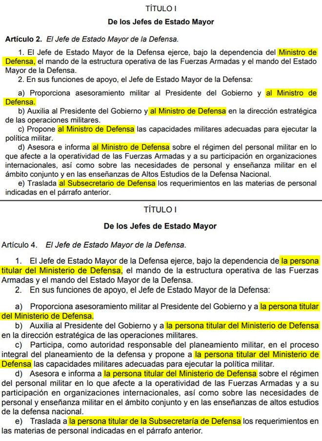 Comparativa entre el decreto de 2014 de organización de las FFAA y el actual.