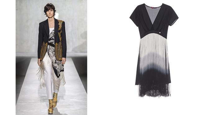 DRIES VAN NOTEN Conjunto con mantón blanco y negro // L&L Vestido negro con flecos. PVP: 150€
