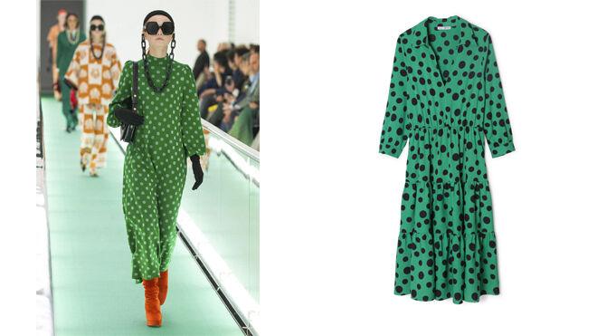GUCCI Vestido verde con lunares blancos // VENCA Vestido verde con lunares negros. PVP: 22.99€