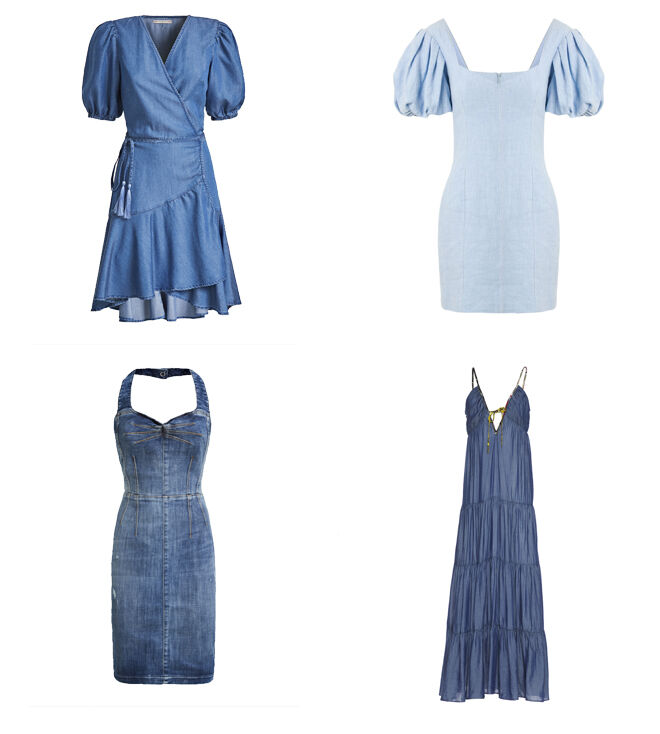 GUESS Vestido cruzado. PVP: 109.90€ // DRESTIP Vestido mangas abullonadas. PVP: 190€ // GUESS vestido escote halter. PVP: 149.90€ // MANILA GRACE Vestido largo. PVP: 213€