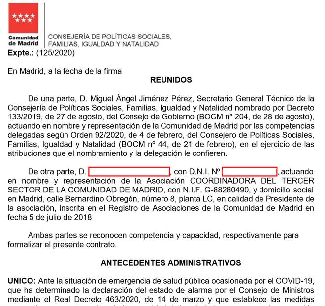 Inicio del contrato entre la Comunidad de Madrid y C3SM.
