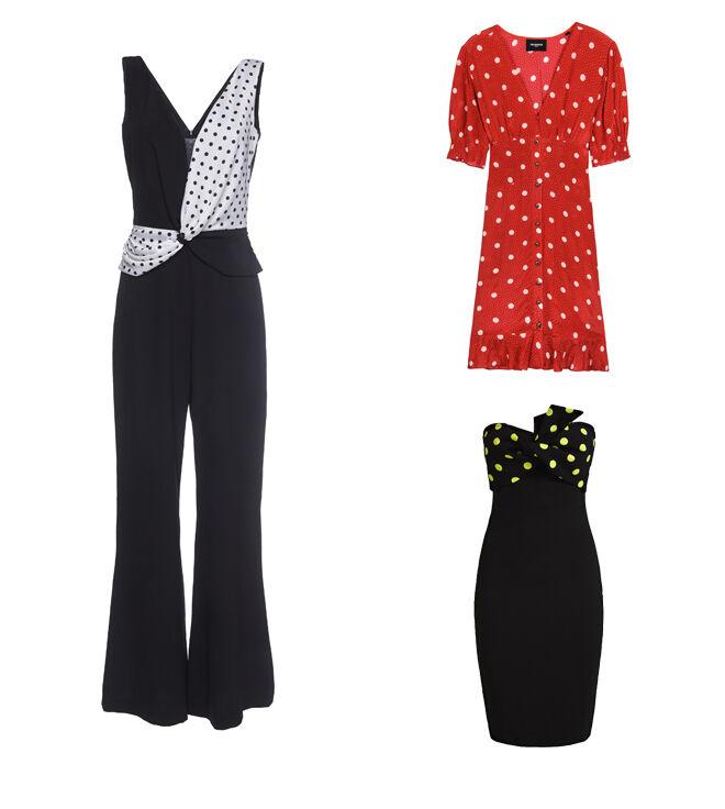 LAURA BERNAL Mono negro. PVP: 197.50€ // THE KOOPLES Vestido rojo. PVP: 238€ // GUESS Vestido negro. PVP: 109.90€