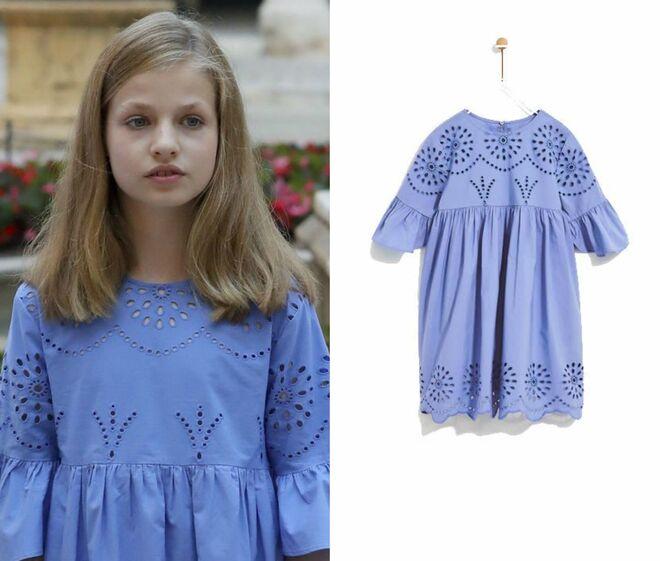 Leonor con un vestido de Zara