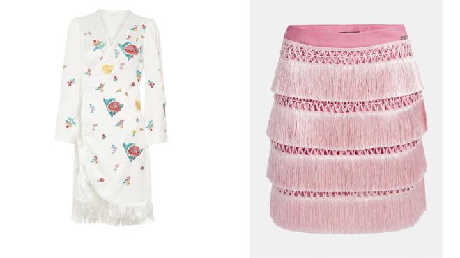 MIOH Vestido blanco con flores. PVP: 219€ // GUESS Falda rosa con flecos. PVP: 99.90€