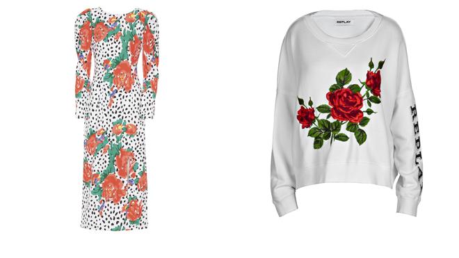 MIOH Vestido con lunares y flores. PVP: 194€ // REPLAY Sudadera blanca. PVP: 119€