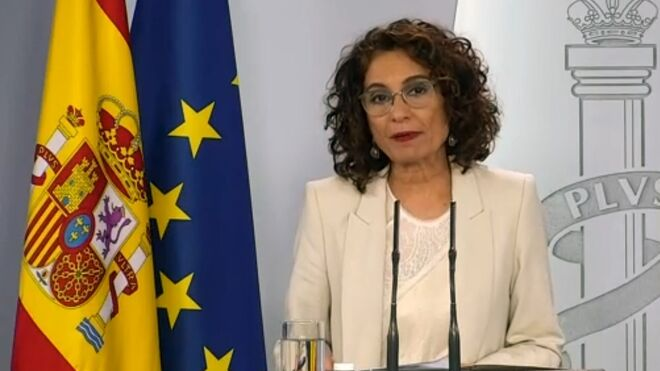María Jesús Montero durante la comparecencia de este domingo.