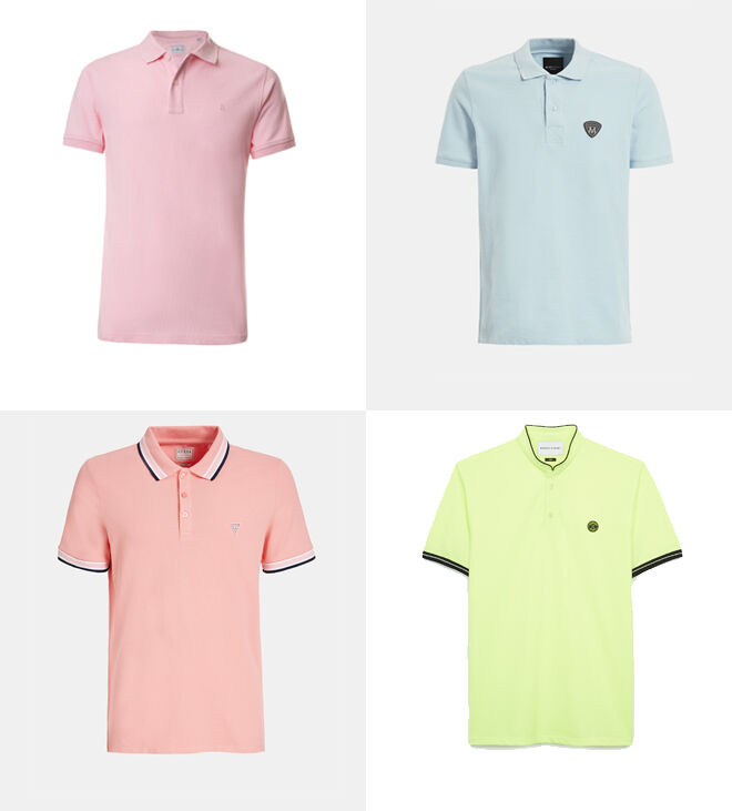 PUROEGO Polo rosa. PVP: 24.99€ // Marciano GUESS Polo azul. PVP: 69.90€ // GUESS Polo rosa ribeteado. PVP:  45.90€ // THE KOOPLES Polo amarillo. PVP: 47.50€