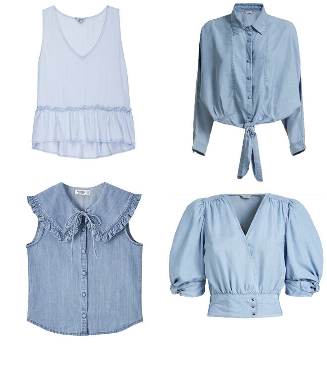 RAILS Blusa tirantes. PVP: 115€ // GUESS Camisa anudada. PVP: 89.90€ // PULL&BEAR Blusa con cuello XXL. PVP: 19.99€ // GUESS Blusa con mangas abullonadas. PVP: 79.90€