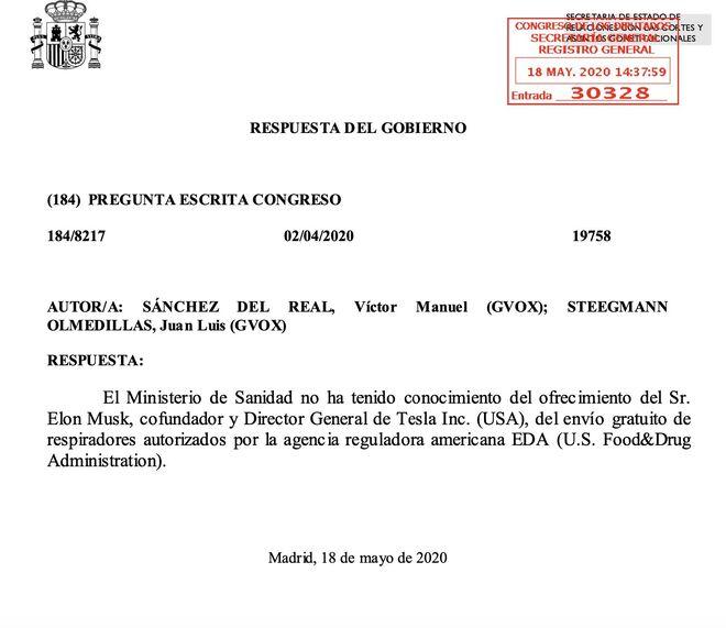 Repuesta del Gobierno en la que dice desconocer la propuesta de donación de respiradores de Elon Musk. Madrid y Burgos recibieron varias unidades a mediados de abril