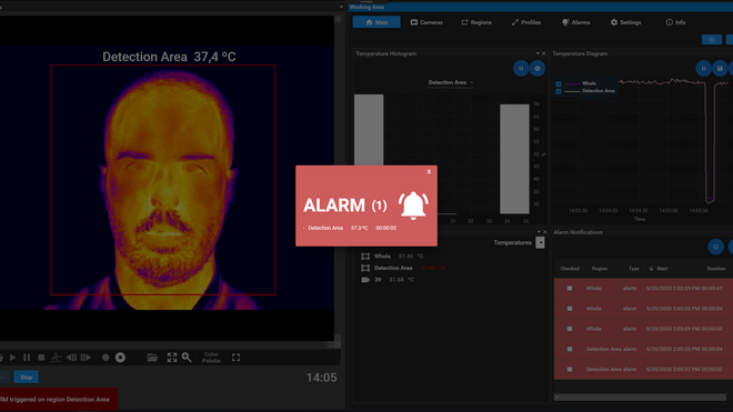 Software que informa de un caso sospechoso de fiebre en las cámaras de la española VisionTIR