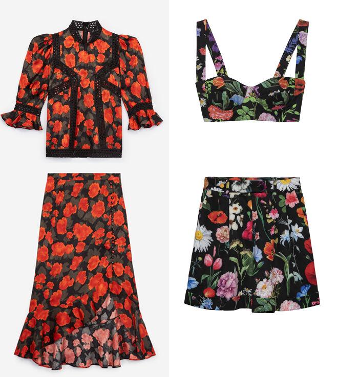 THE KOOPLES Blusa de flores. PVP: 198€ y falda asimétrica. PVP: 198€ // GEORGES RECH Top y bermudas de flores. CPV