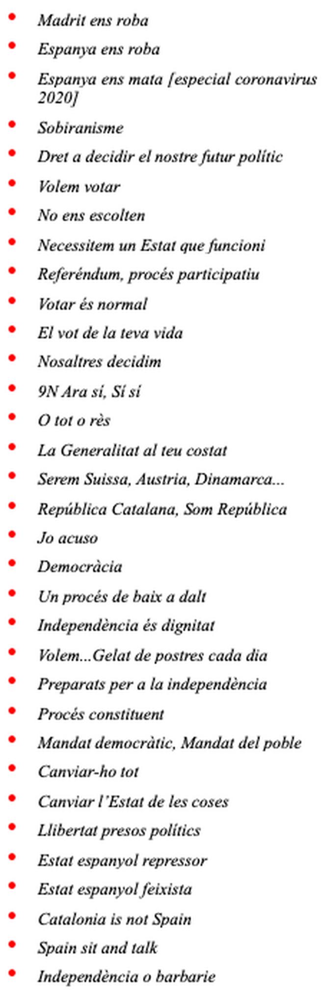 Tabla 1. Algunos términos, lemas y ocurrencias de la propaganda separatista